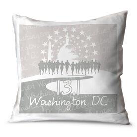 "Running Throw Pillow Running 15"" x 15"" Pillow Washington DC Skyline"