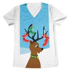 Women's Running Short Sleeve Tech Tee - Deer and Santa