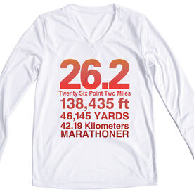 Women's Customized White Long Sleeve Tech Tee 26.2 Math Miles