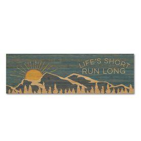 "Running 12.5"" X 4"" Printed Bamboo Removable Wall Tile - Life's Short Run Long (Mountains)"