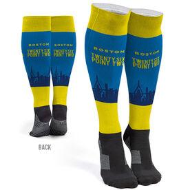 Running Printed Knee-High Socks - Boston 26.2 Skyline