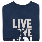 Running Raglan Crew Neck Sweatshirt - Live Love Run Silhouette