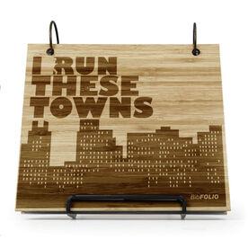 Engraved Bamboo Wood BibFOLIO® Race Bib Album - I Run These Towns