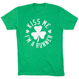Running Short Sleeve T-Shirt - Kiss Me I am a Runner Shamrock