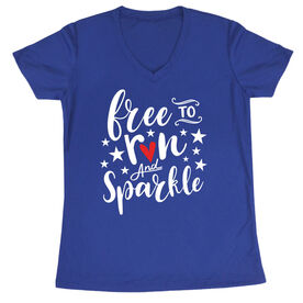 Women's Running Short Sleeve Tech Tee - Free To Run And Sparkle