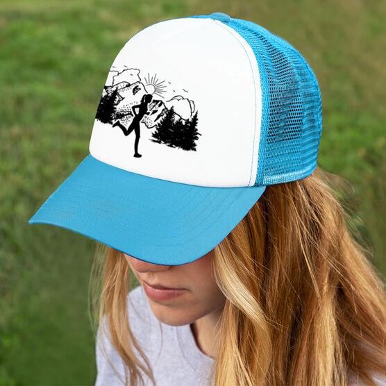 Running Trucker Hat - Mountain Female Runner
