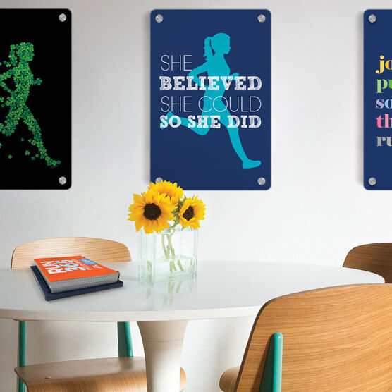 "Running 18"" X 12"" Wall Art - She Believed She Could So She Did (Silhouette)"