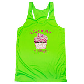 Women's Racerback Performance Tank Top - Will Run For Cupcakes
