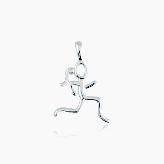 Sterling Silver Stick Figure Runner Charm