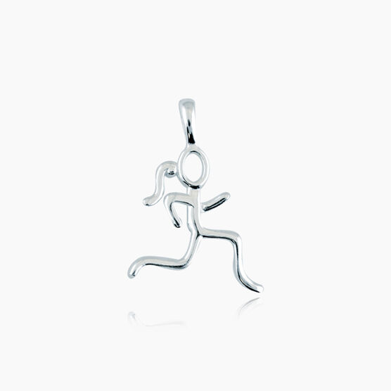 Sterling Silver Stick Figure Runner Charm