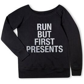 Running Fleece Wide Neck Sweatshirt - Run But First Presents