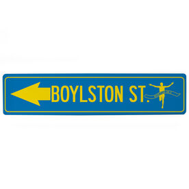 "Running Aluminum Room Sign - Boylston St. (4""x18"")"