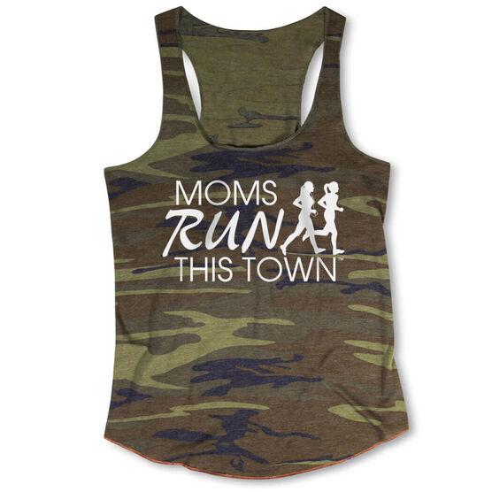 Running Camouflage Racerback Tank Top - Moms Run This Town Logo (White)