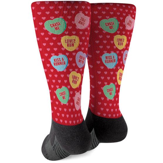 Running Printed Mid-Calf Socks - Candy Hearts