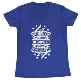 Women's Running Short Sleeve Tech Tee - We Run Free Because Of The Brave