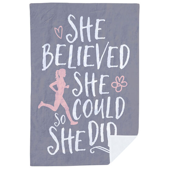 Running Premium Blanket - She Believed She Could (Sketch)