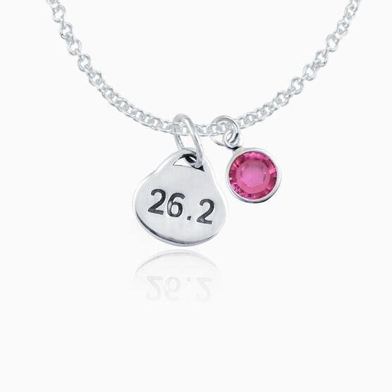 Sterling Silver 26.2 Marathon Oval Pendant Necklace