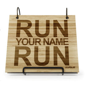 Engraved Bamboo Wood BibFOLIO® Race Bib Album - Run Your Name Run
