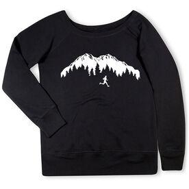 Running Fleece Wide Neck Sweatshirt - Trail Runner in the Mountains