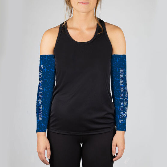 Running Printed Arm Sleeves - I Can Do All Things Through Christ