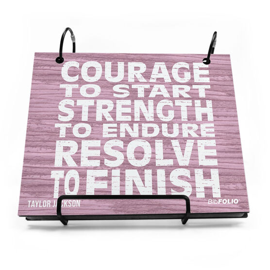 BibFOLIO® Race Bib Album - Courage, Strength, Resolve Rustic
