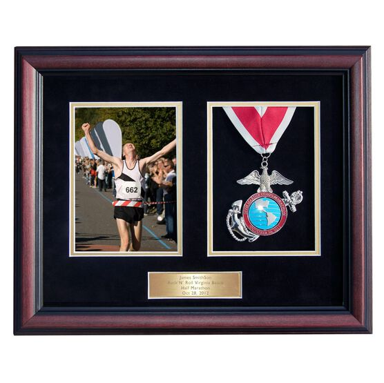 Cherry Wood Medal and Photo Frame for Runners and Triathletes with Brass Engraved Plate