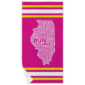 Running Premium Beach Towel - Illinois State Runner