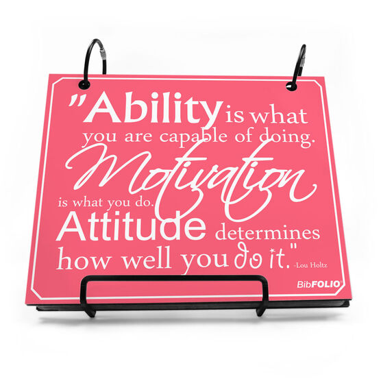 BibFOLIO® Race Bib Album - Ability, Motivation, & Attitude Quote - Artist Style