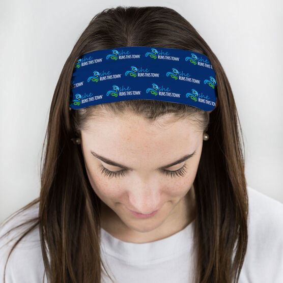 Running Multifunctional Headwear - She Runs This Town Logo Swirl Pattern RokBAND