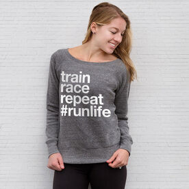 Running Fleece Wide Neck Sweatshirt - Train Race Repeat