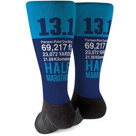 Running Printed Mid-Calf Socks - 13.1 Math Miles