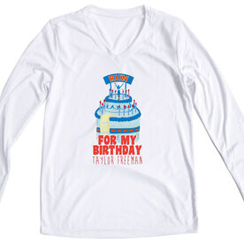 Women's Customized White Long Sleeve Tech Tee For my Birthday Run