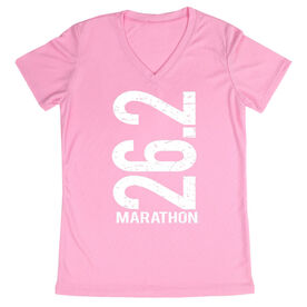 Women's Running Short Sleeve Tech Tee 26.2 Marathon Vertical
