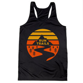 Women's Racerback Performance Tank Top - Run Trails Sunset
