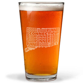 20 oz Beer Pint Glass Connecticut State Runner
