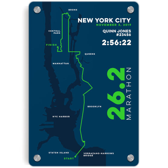 Running Metal Wall Art Panel - New York City 26.2 Route