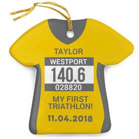 Triathlon Porcelain Ornament - Personalized My First Triathlon Shirt Ornament