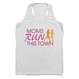 Women's Performance Tank Top - Moms Run This Town Poppy Logo