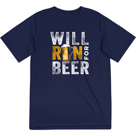 Men's Running Short Sleeve Performance Tee - Will Run For Beer