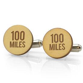Running Engraved Wood Cufflinks 100 Miles