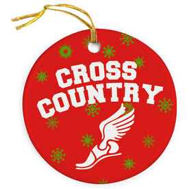 Cross Country Porcelain Ornament Cross Country With Winged Foot