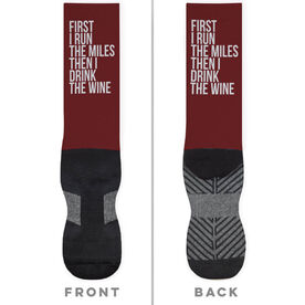 Running Printed Mid-Calf Socks - Then I Drink The Wine