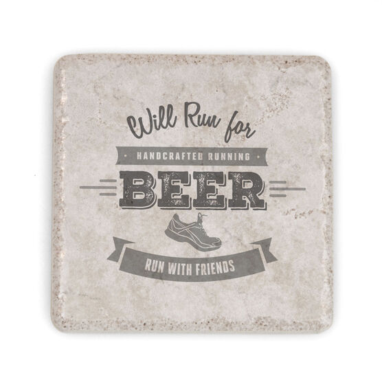 Running Stone Coaster - Will Run For Beer