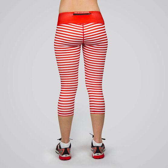 Running Performance Capris - Red & White Stripes