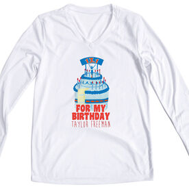 Women's Customized White Long Sleeve Tech Tee For my Birthday 13.1