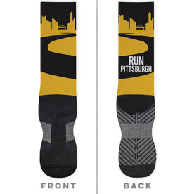 Running Printed Mid-Calf Socks - Pittsburgh Skyline