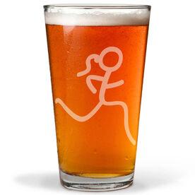 Run Girl Stick Figure 16 oz Beer Pint Glass