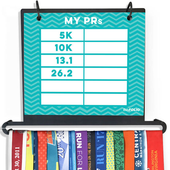 BibFOLIO+™ Race Bib and Medal Display Dry Erase My PRs Chevron