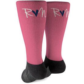 Running Printed Mid-Calf Socks - Run Heart