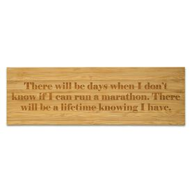 """Running 12.5"""" X 4"""" Engraved Bamboo Removable Wall Tile - I Can Run A Marathon"""